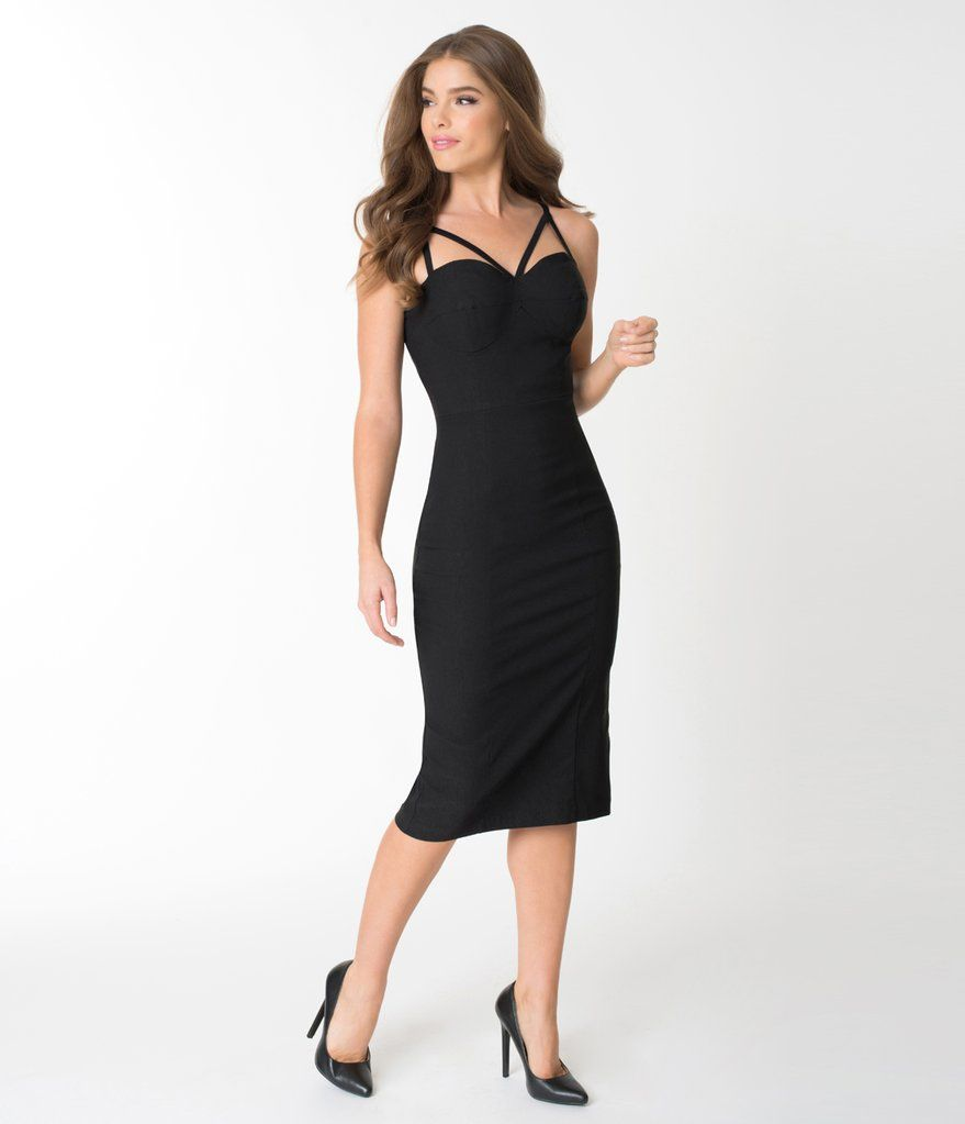 f88b4d57309d8 Stop Staring! Black Cage Detailed Kisses Wiggle Dress | Cocktail ...