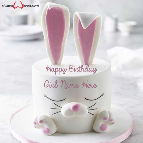 Stupendous Cute Rabbit Birthday Name Cake With Images Bunny Birthday Cake Birthday Cards Printable Riciscafe Filternl