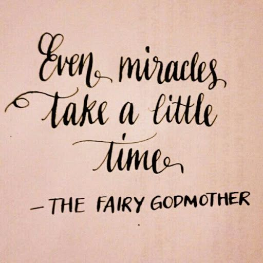 """Even miracles take a little time."" ~Your Fairy Godmother. :) Can't wait to meet my God daughter, baby Sophia"