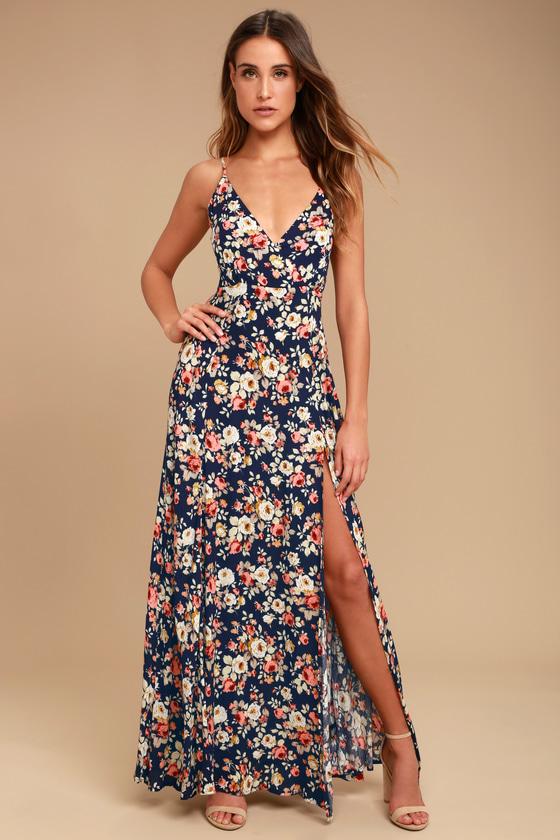Everlasting Bliss Navy Blue Floral Print Maxi Dress Floral Print Maxi Dress Maxi Dress Floral Maxi Dress
