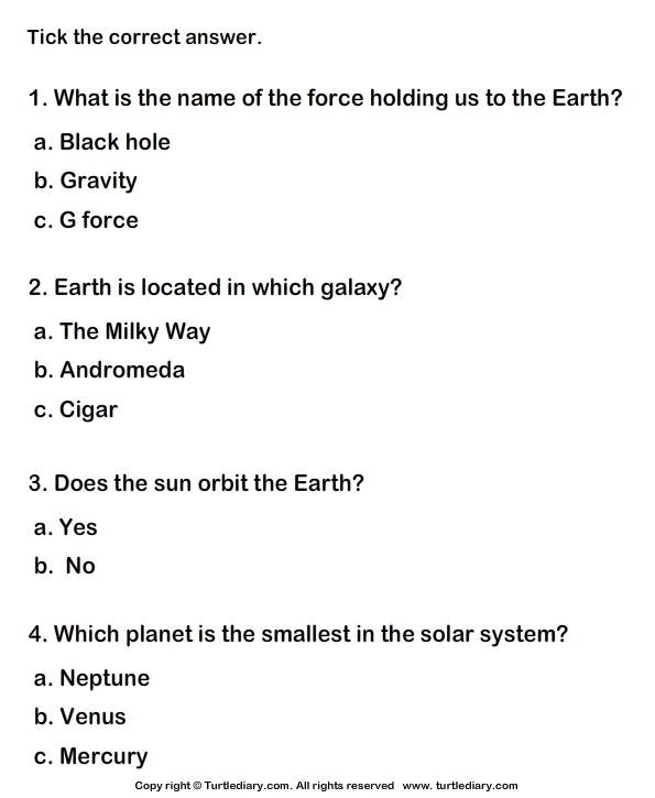 Solar System Choose the correct option TurtleDiary – Science Worksheets