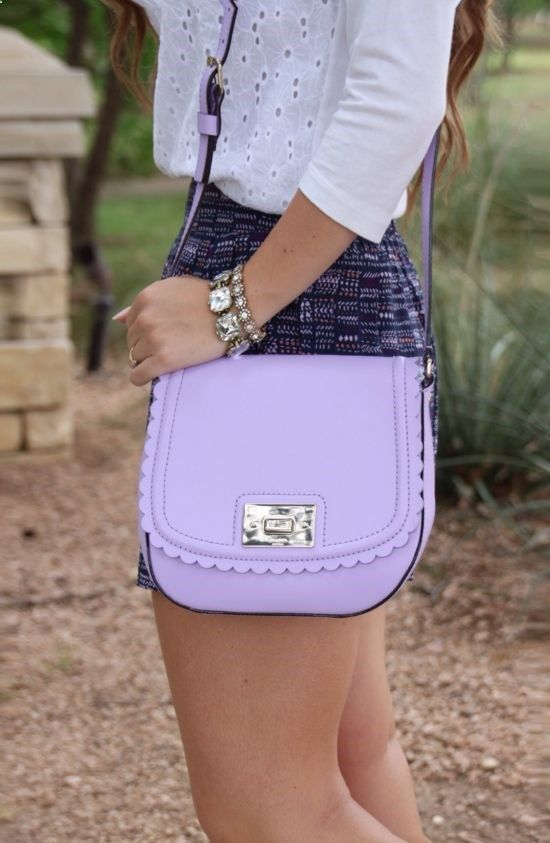 Kate Spade Scallop Handbag, J. Crew top via Sunshine Stilettos Blog