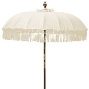Large Natural Fringed Cotton Decorative Patio Umbrella With Carved Wood Fits Any Standard Stand