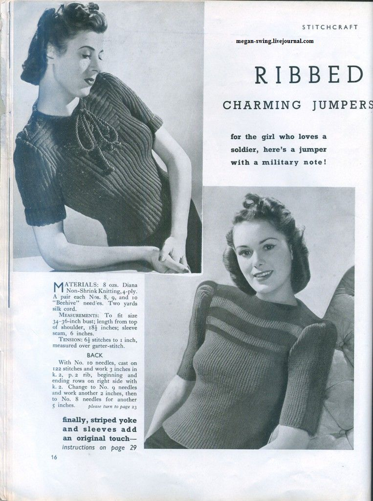 Charming Ribbed Jumper - Stitchcraft, March 1941 | 1940´s | Pinterest