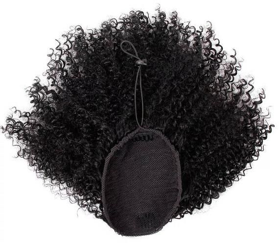 100% human hair kinky curly ponytail extension #humanhairextensions • This ponytail human hair extension is made with a breathable elastic nylon net • It comes with 2 holding clip, and adjustable cap with elastic cord • Made with 100% Remy Human hair extension  • Used for easy styling of flat gel hair styles • Handsewed without further proceesing and can be worn right away • The hair weigh minimum of 120g and depending on the length you selected up to maximum of 150g • comb with fi #humanhairextensions