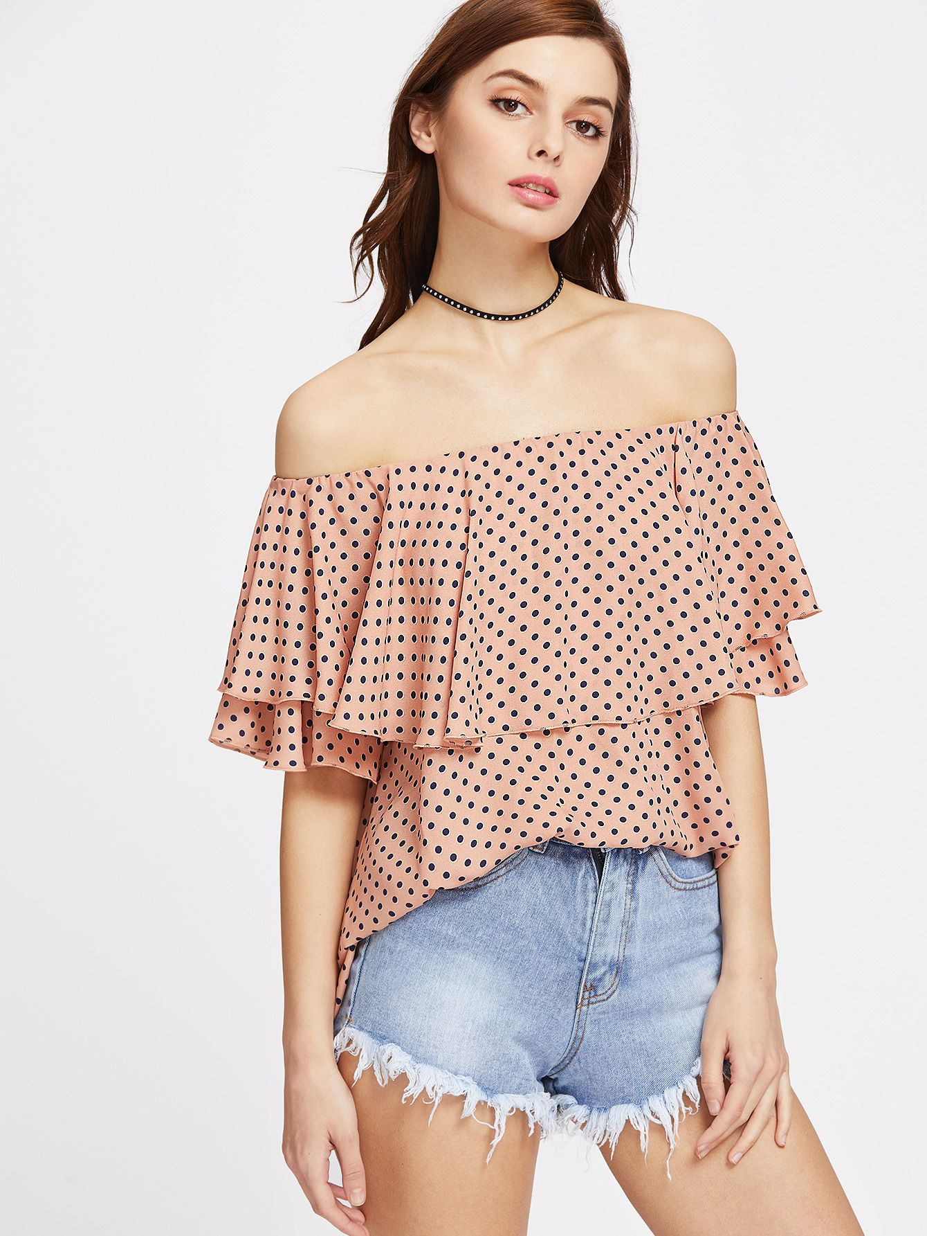 dff06f17cad Polka Dot Print Flounce Layered Neckline Top | :: >> Yes, It's New ...