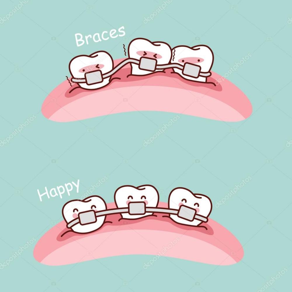 Descargar Cute Dibujos Animados Dientes Brackets Ilustracion De Stock Odontologia Ortodoncia Anatomia Dental