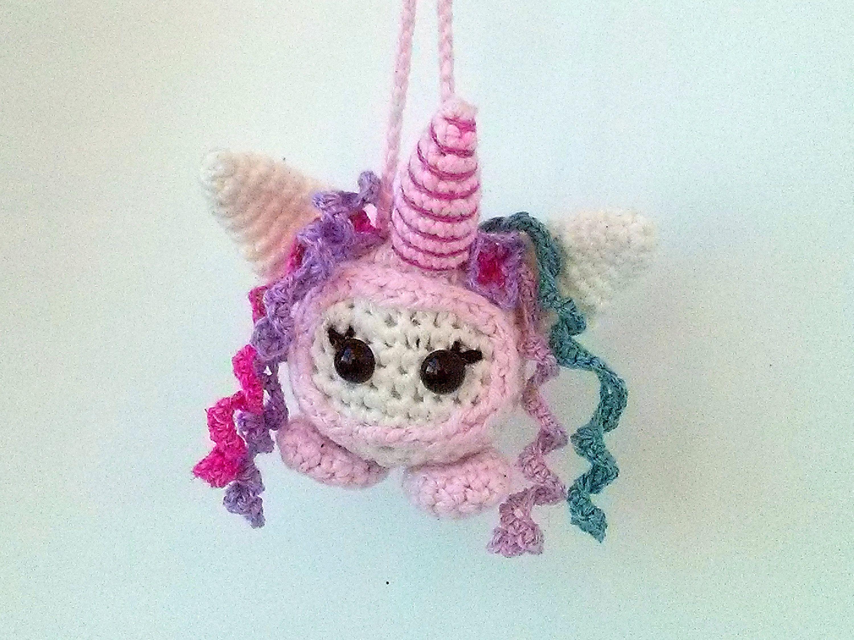 Amigurumi Unicorn : Amigurumi unicorn toy rainbow unicorn keychai hand knit unicorn