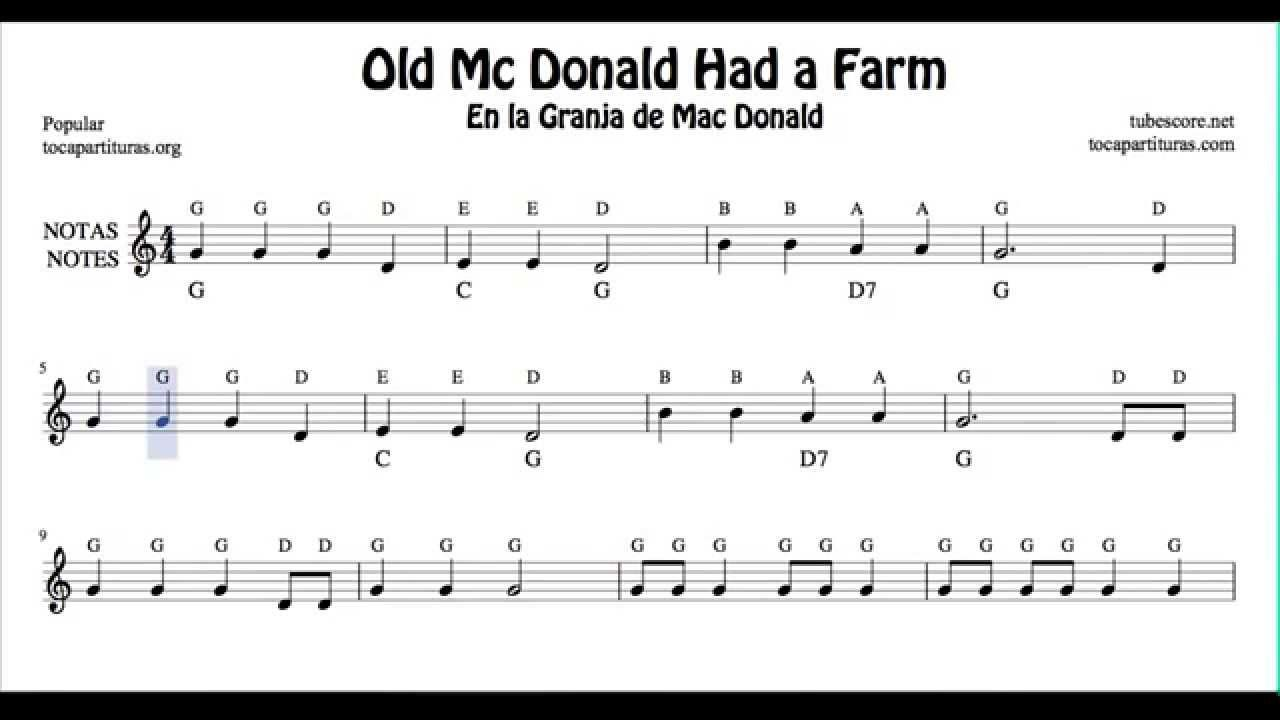 Old Mc Donald Had a Farm Free Notes Sheet Music for Beginners ...
