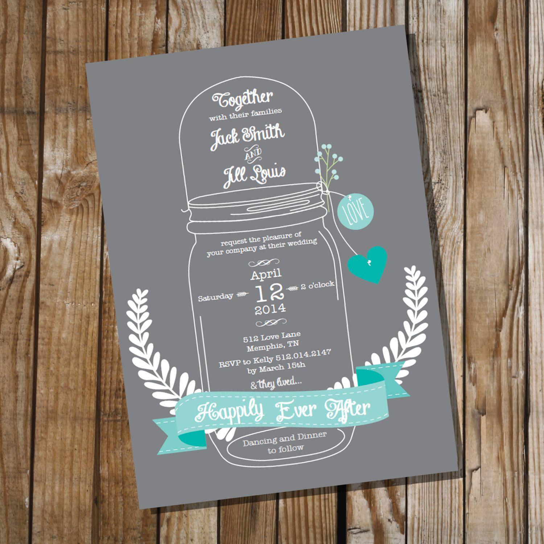 Mason Jar Wedding Invitation  Instant Download by SunshineParties, $5.00