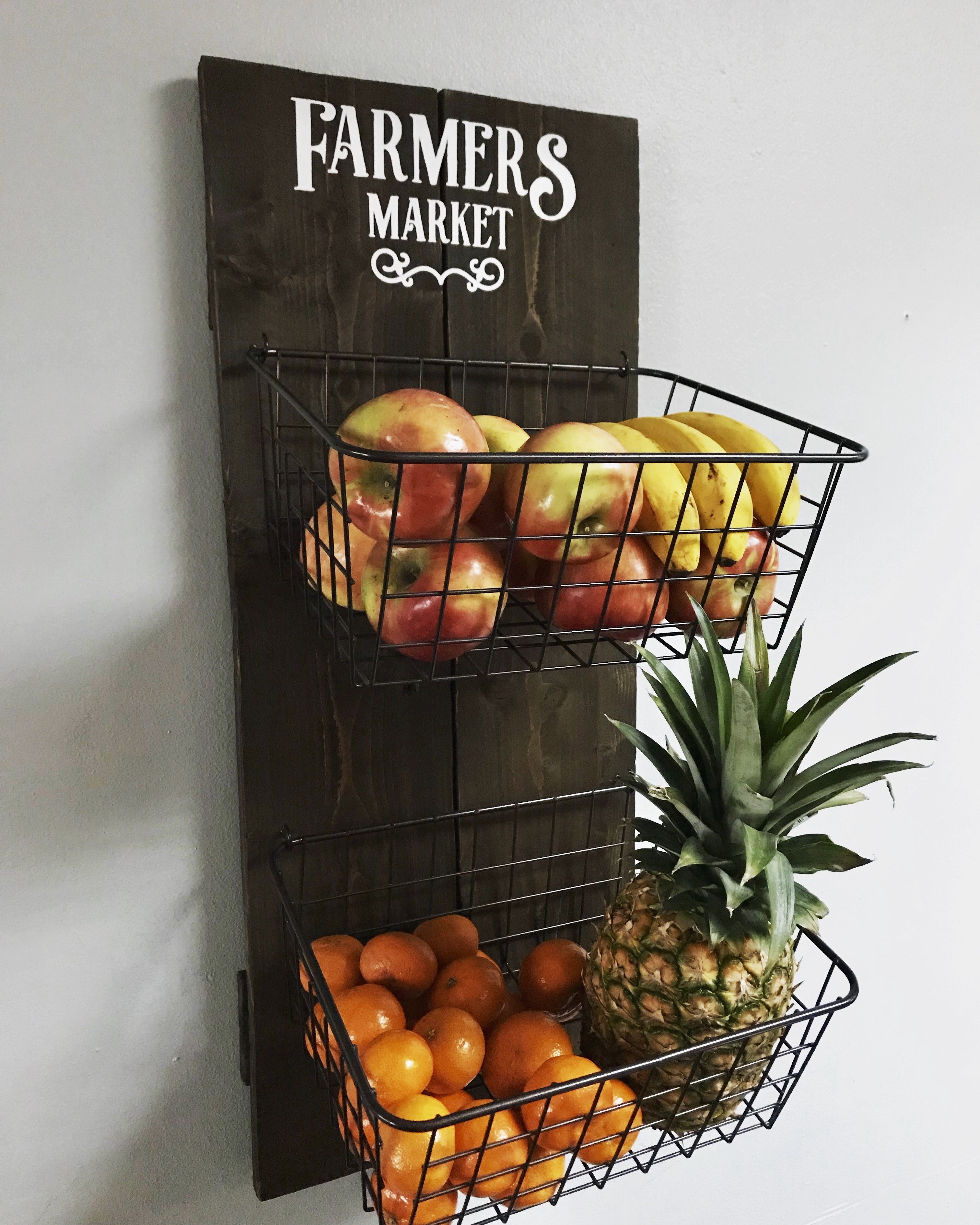 Farmhouse Inspired Wall Fruit Basket I Sanded And Stained The Wood Baskets Are From Walmart And Decal From Etsy Fruit Baskets Diy Diy Basket Kitchen Baskets