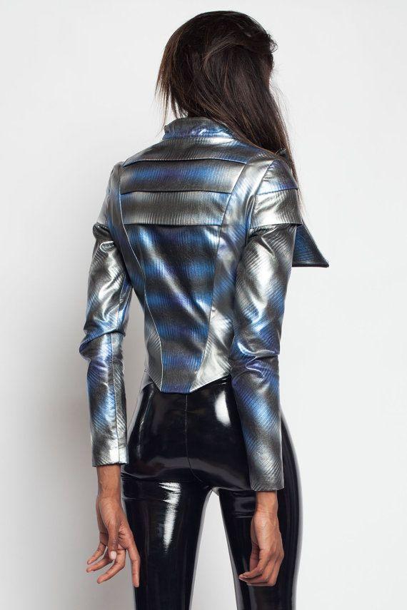18ab101683 OTHERWORLDLY JACKET - Space Moto Motorcycle Goth Gothic Space Babe  Cyberpunk Armor Avant Garde Cyber Futuristic Stripes Silver Metallic