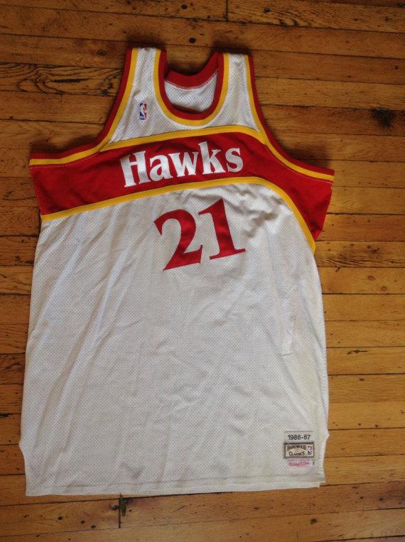 premium selection 2df64 4e2bd Vintage Mitchell   Ness NBA Atlanta Hawks Dominique Wilkins jersey USA size  56