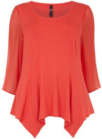Evans Cherry Red Chiffon Sleeve Top - Tops & Tunics - Clothing