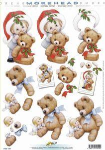Morehead Cute Christmas Children 3D Decoupage Sheet