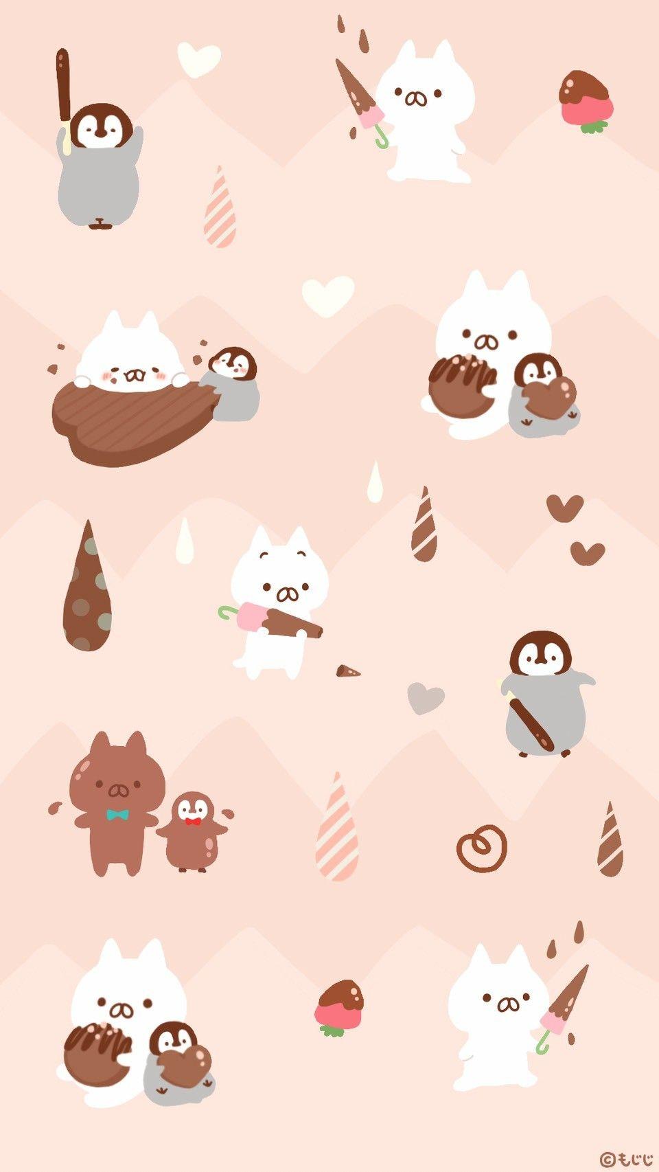Onigiriのnekoとnoriのpenguin うさまる 壁紙 猫 イラスト かわいい
