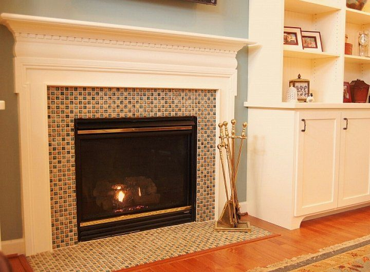 Fireplace Contemporary Mosaic Glass Tile Fireplace Surround With