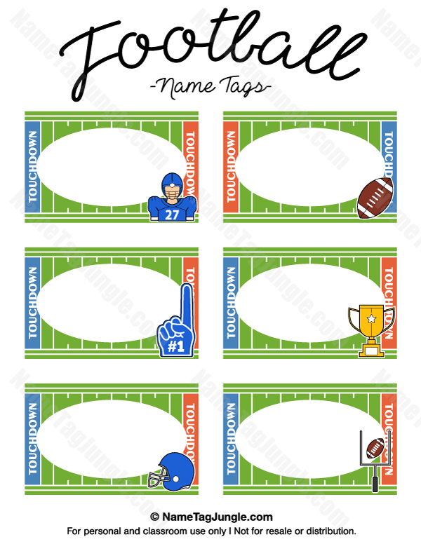Free printable football name tags. The template can also be used for ...