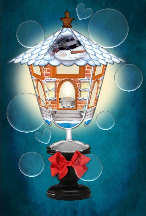 Large view of the snowman row house wine glass lantern cover I have designed.  These wine glass lanterns make great table décor.  Whimsical, fun, and easy.  Now listing on Simply D Rave Etsy.  Thanks for looking.