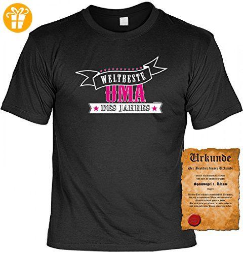 T-Shirt für die Großmutter - Weltbeste Oma des Jahres - lustiges Geschenk zum Muttertag mit Gratis Urkunde / Zertifikat, Größe:XL (*Partner-Link)