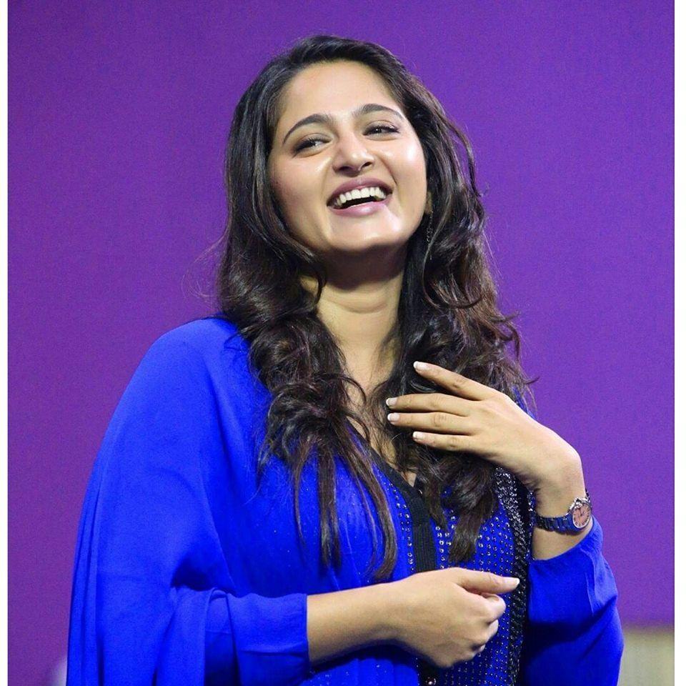 Anushka Shetty Smiling Photos In Blue Dress Anushka