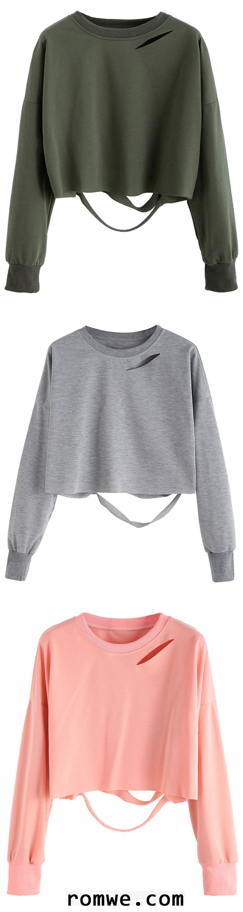 fc93dac0626bf Light Grey Drop Shoulder Cut Out Crop T-shirt in 2019