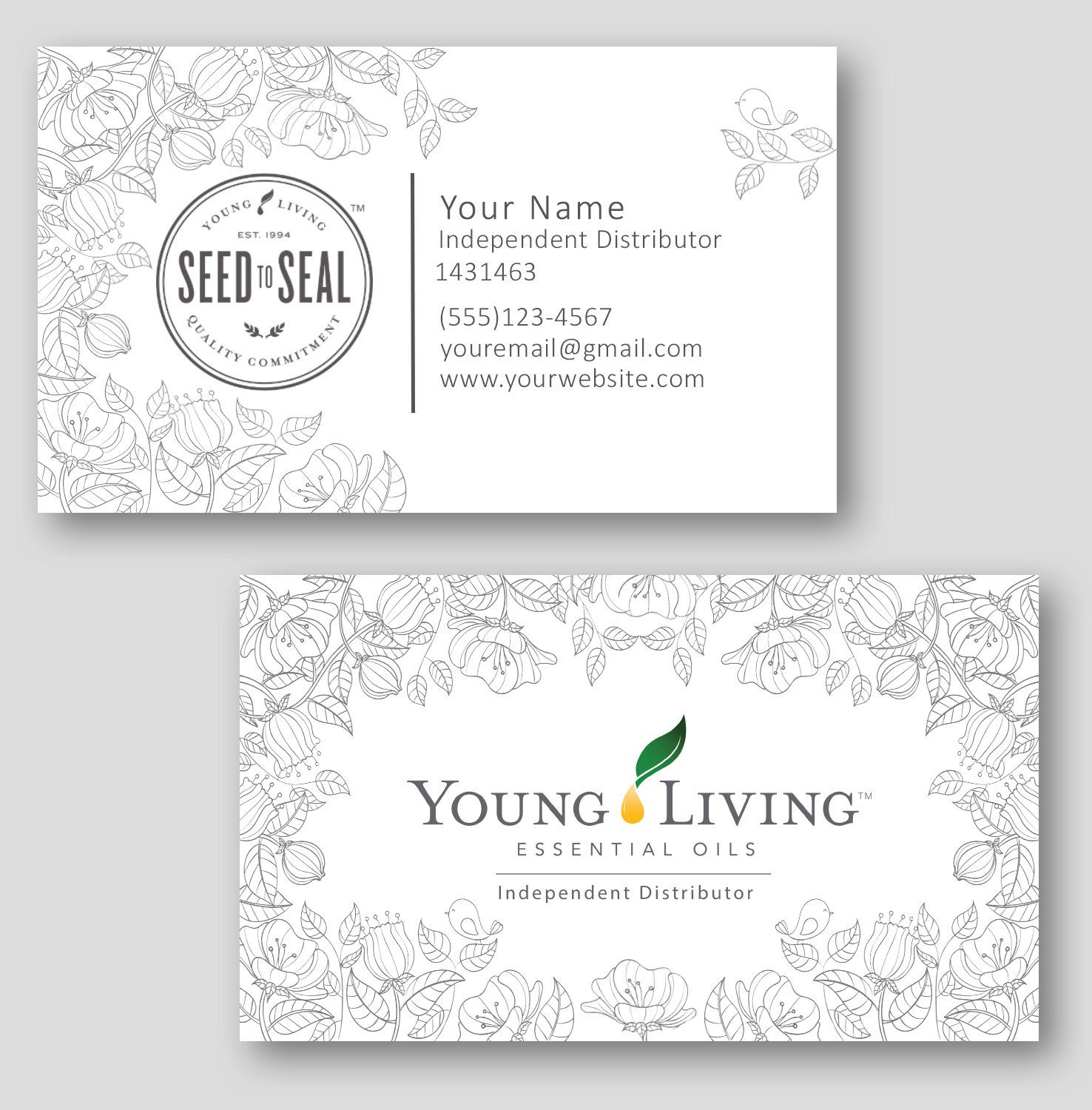 line drawing flowers young living independent distributor business