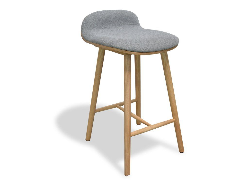 Retro Kitchen Bar Stools Catania Retro Solid Timber Bar Stool With Grey Fabric Simply