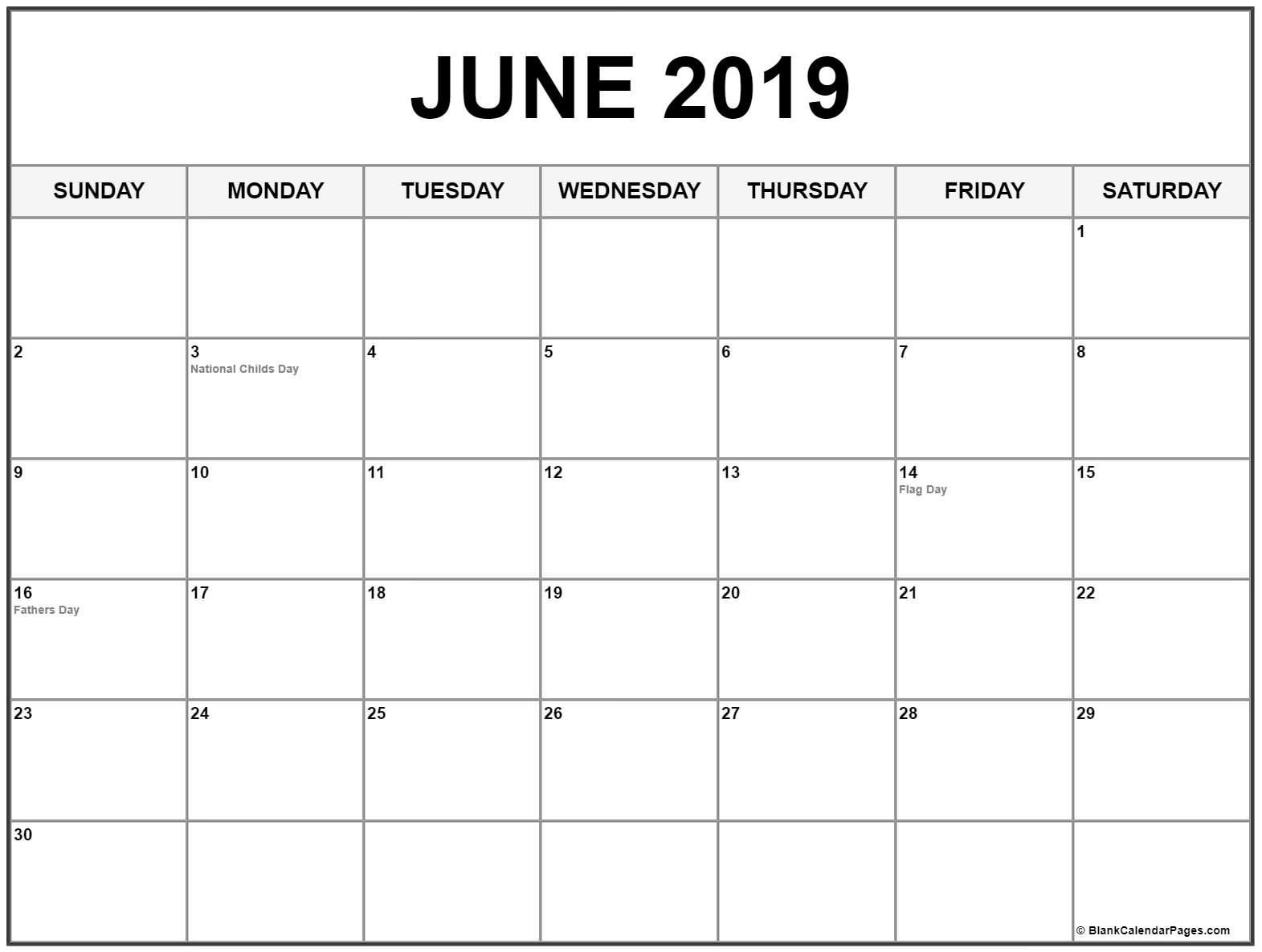 June 2019 Calendar In Pdf Word Excel Printable Template With