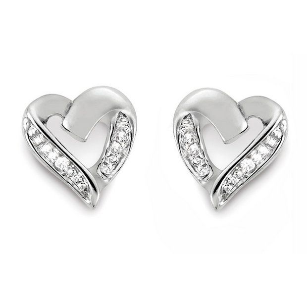 9ct White Gold Diamond Accent Heart Stud Earrings At Argos Co Uk