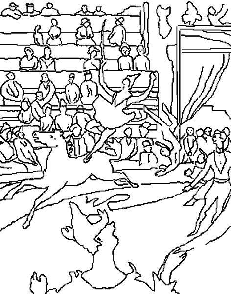 Coloriage Cirque Seurat.Georges Seurat Coloring Famous Paintings Art Circus Art