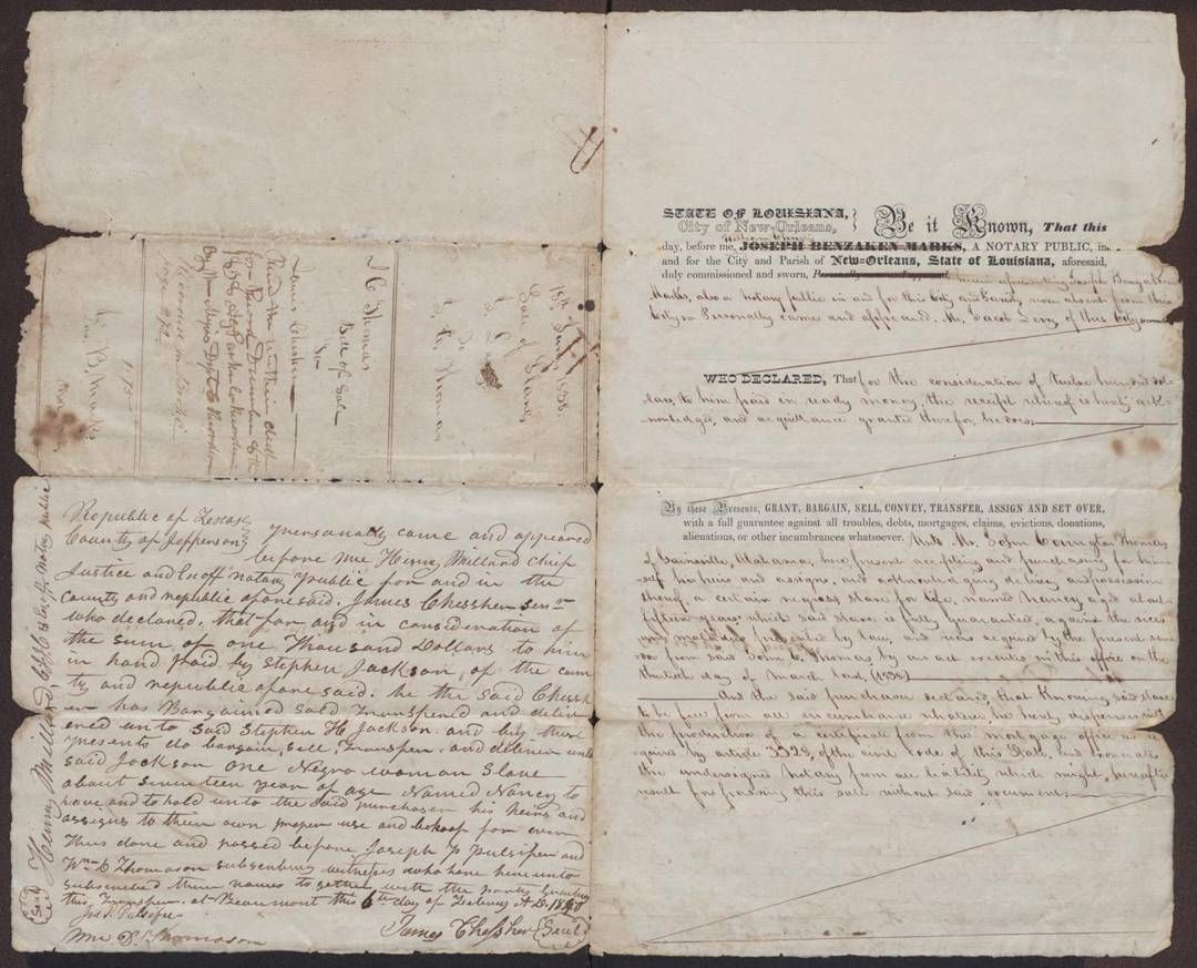 bills of sale of a slave named nancy the initial bill was written