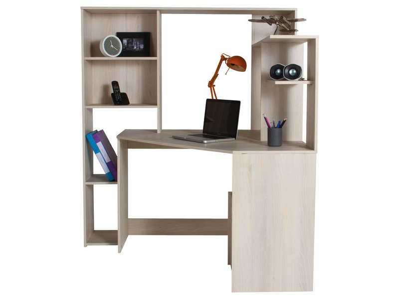 bureau d 39 angle groove coloris acacia vente de bureau. Black Bedroom Furniture Sets. Home Design Ideas