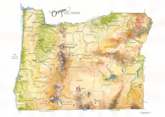 Oregon State Map Watercolor Illustration Portland Ashland Eugene