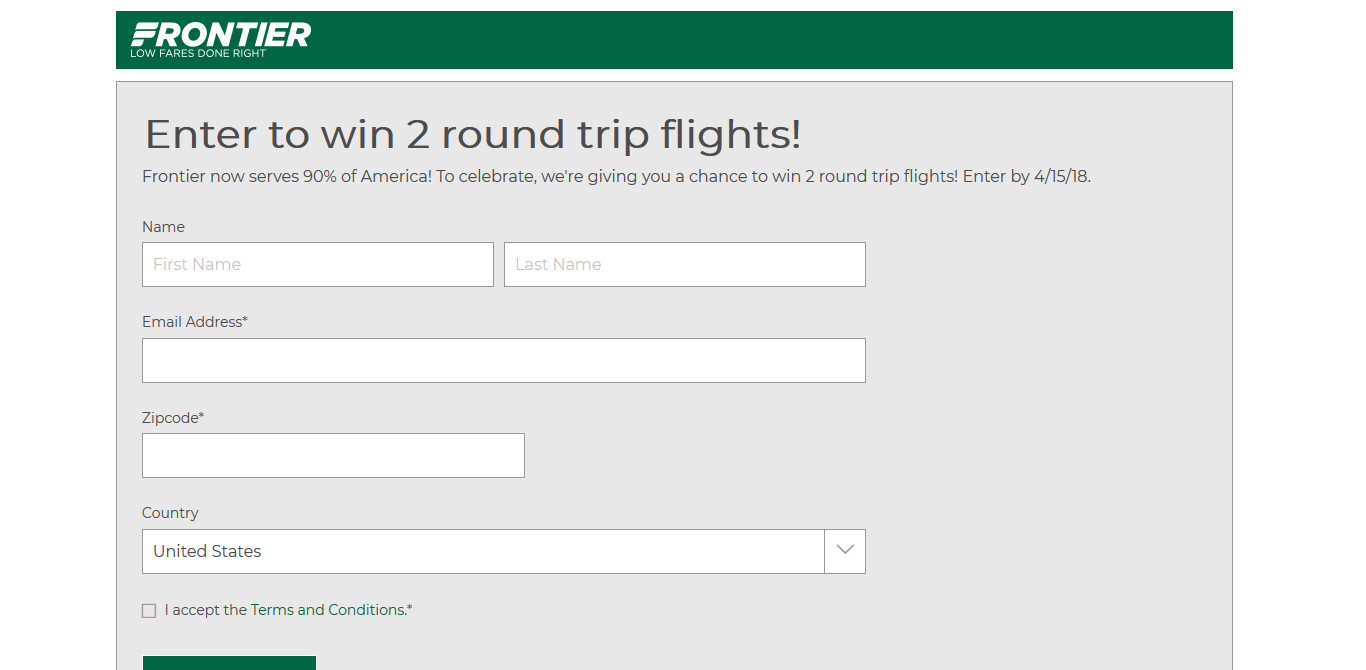 Frontier Round Trip Contest (Ends 4/15 - One Time Entry