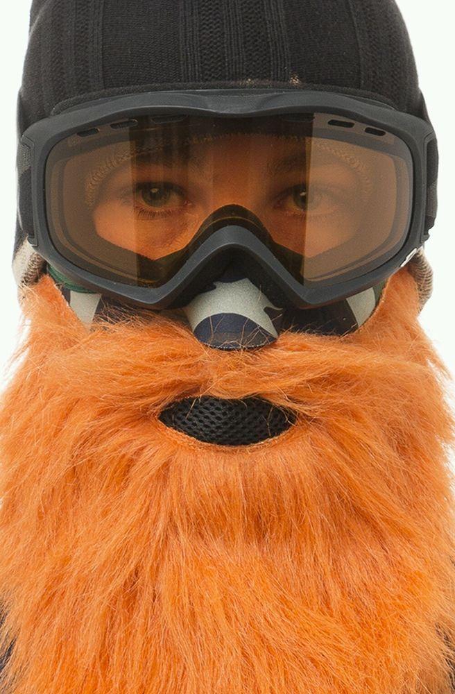 Beardski HUNTER Orange Ski Snow Mask - Fleece and Neoprene Harley Cold Riding   #Beardski