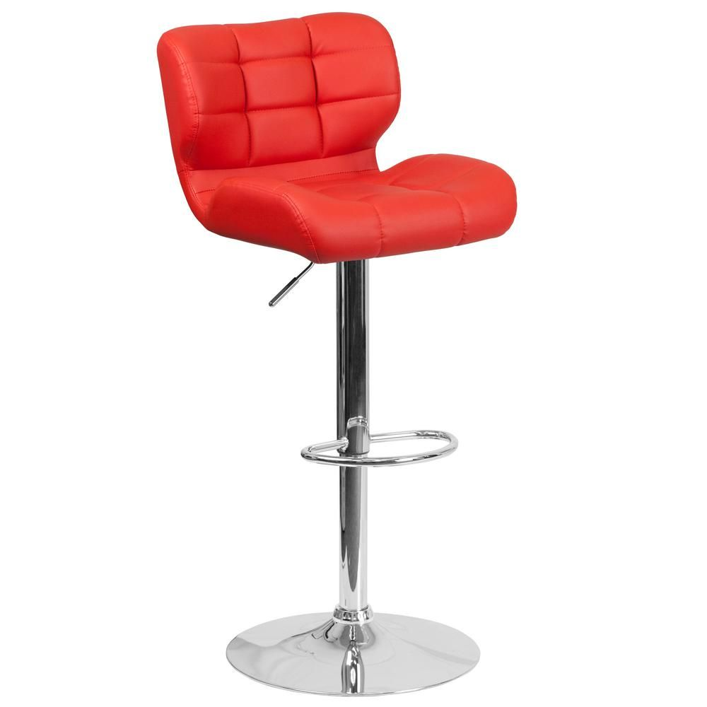 Adjule Height Red Cushioned Bar Stool