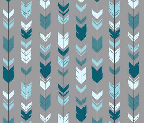 Arrow Feather Teal Blue Grey Winslow Baby Boy Woodland Nursery Fabric By Sugarpinedesign On Spoonflower Custom