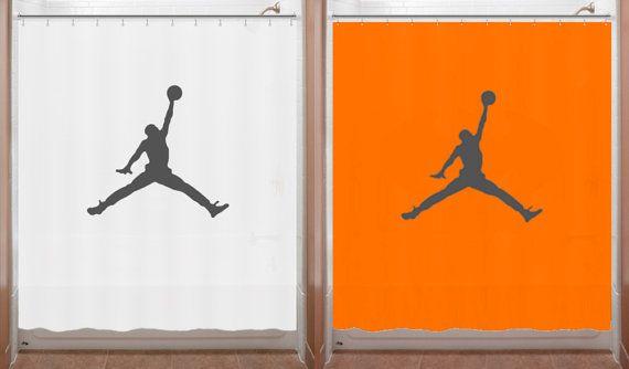 Basketball Shower Curtain Air Jordan Jumpman By SHOWERCURTAINS Orange Bathroom Decor Boy Rooms Color