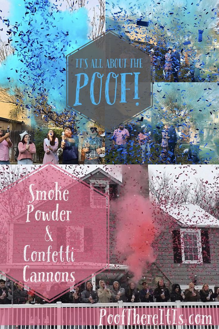 Powder & Confetti Cannons?!?!? Perfect Gender reveal idea for the picture perfect gender reveal. Uniques gender reveals are all at poofthereitis.com for the DIY Gender reveal for he or she, boy or girl, him or her. Smoke powder Cannon!