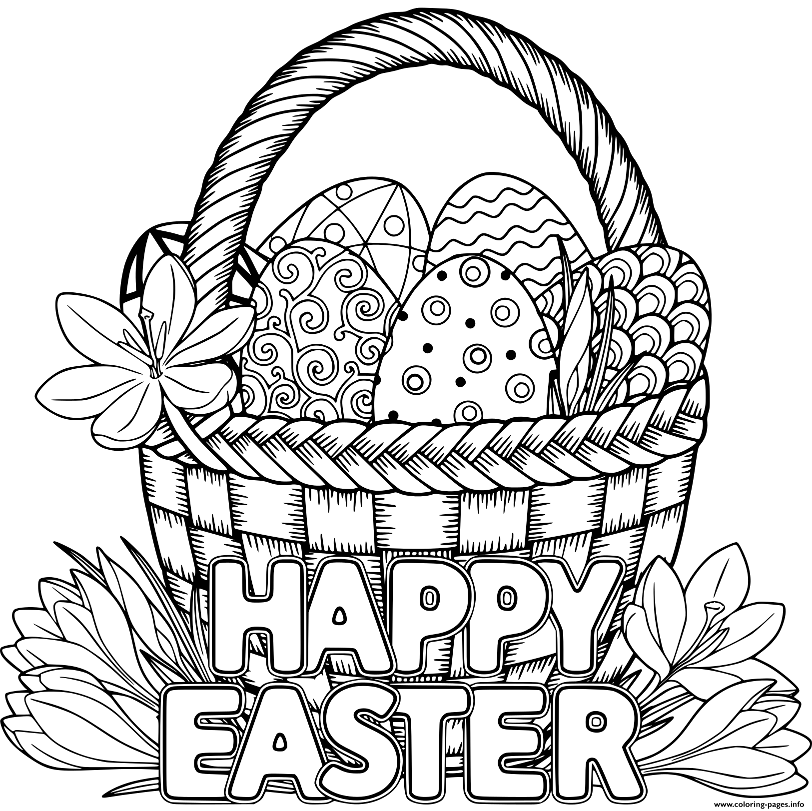 Print basket egg adult happy easter coloring pages (With ...