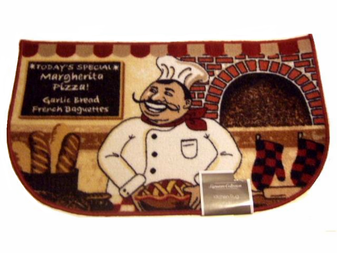 Add A Whimsical Touch To Your Italian Themed Kitchen With This Slice Rug That Features Fat Chef At Work In His Cafe 19 95