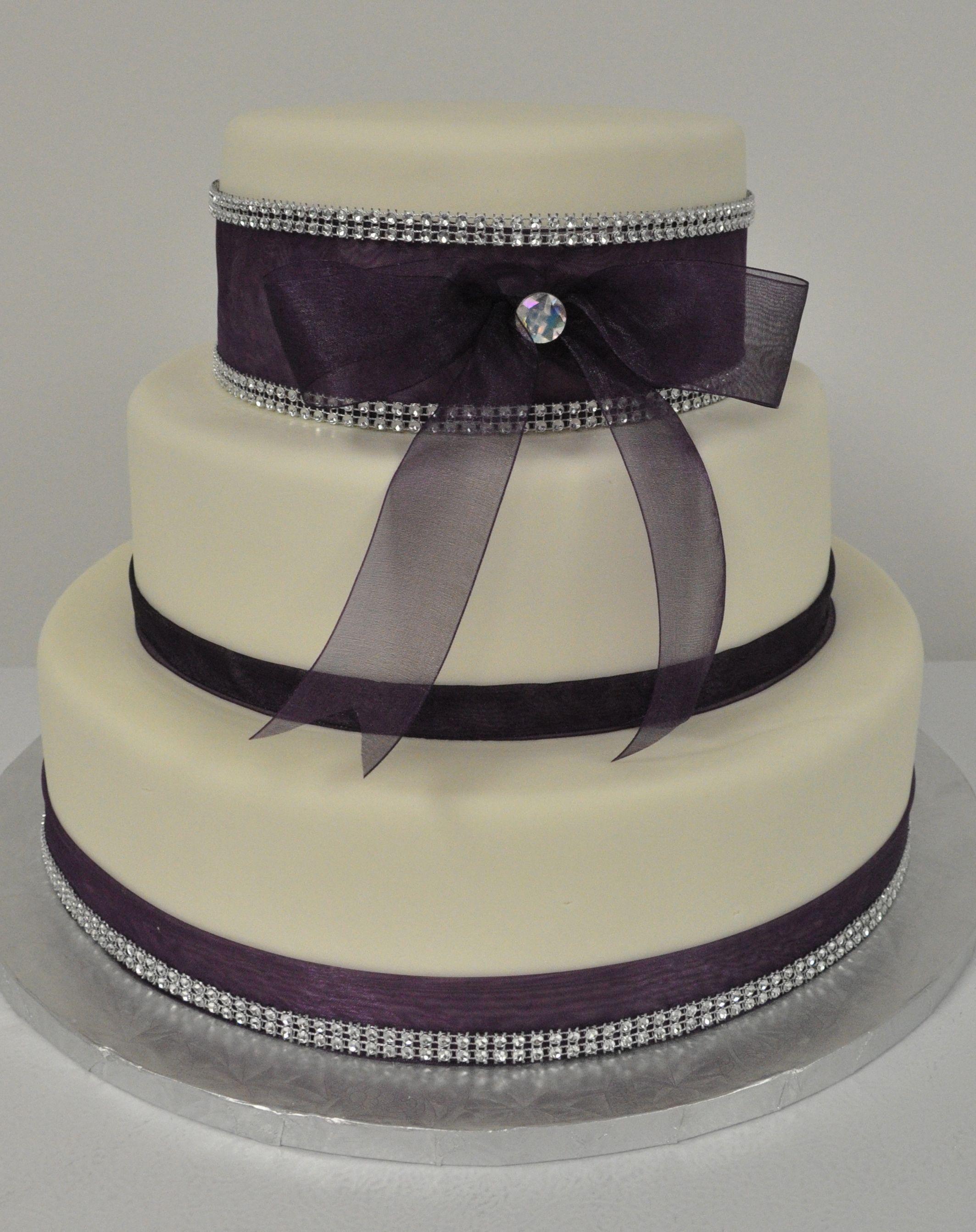 Wedding Cake with Fondant & Purple Ribbon. #weddingcake
