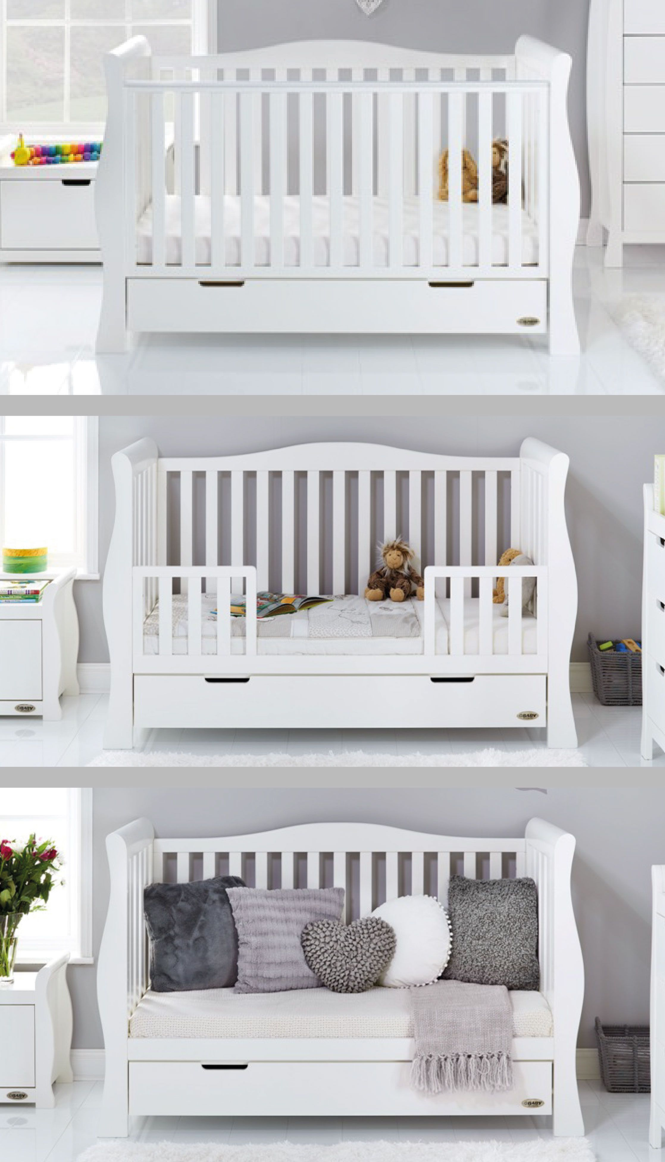 - Obaby Stamford Luxe Sleigh Cot Bed - White . . . #baby #nursery