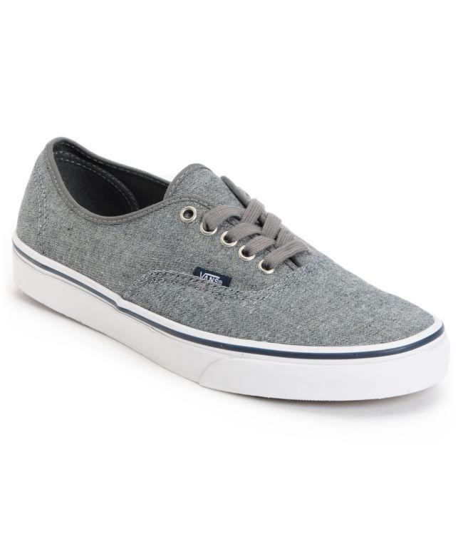 7d57be5fe5c2 Vans Authentic Pewter Denim Skate Shoes