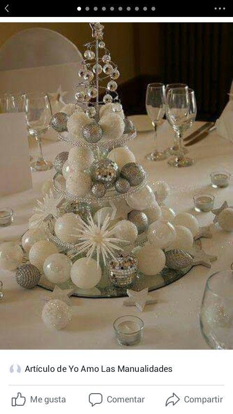 Centrotavola Natalizio Bianco E Argento.Pin Di Simona Scaletta Su Idee Natale Tabelle Di Natale