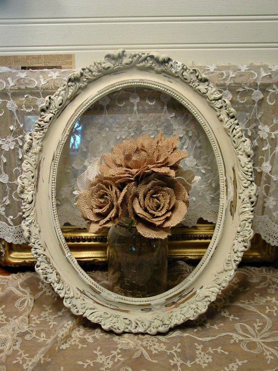 Antique Gesso Wood Frame - Ornate Wood - Oval Frame - Wall Art ...