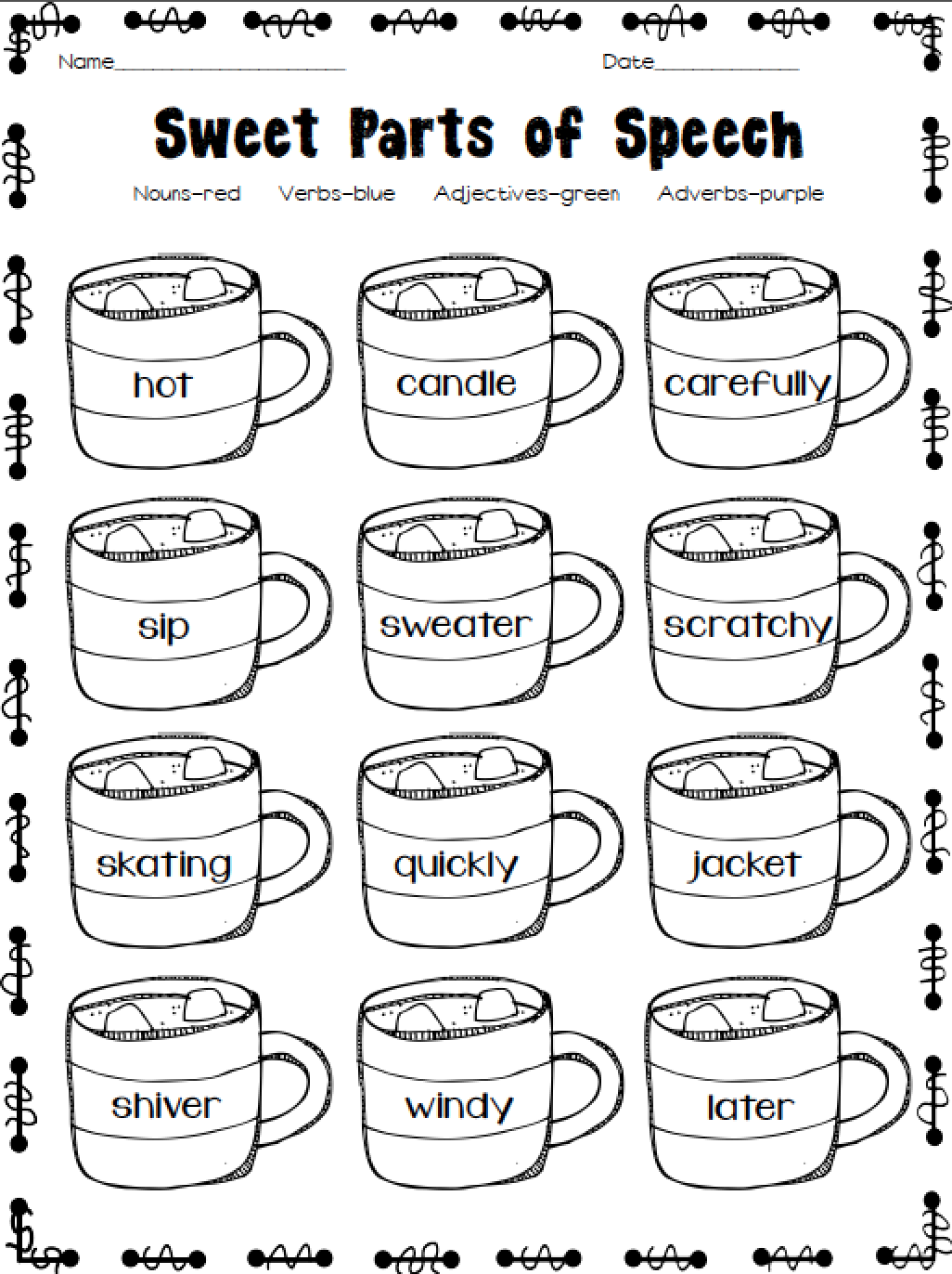 Excellent WInter-themed printables! Quick and easy activities to enhance  your units! Two F…   Parts of speech worksheets [ 1372 x 1026 Pixel ]