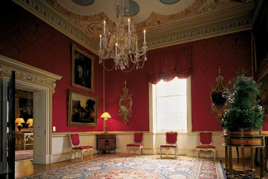 The private drawing room where Lady Spencer received her guests, this room was described by Arthur Young in 1772 as 'fitted up with great taste; scarce anything can be more beautiful than the mosaic ceiling, the cornices and all the ornaments'. The ceiling is one of Stuart's best designs, based on a ceiling in the Baths of Augustus in Rome, while the frieze is adapted from that of the Erechtheum in Athens.