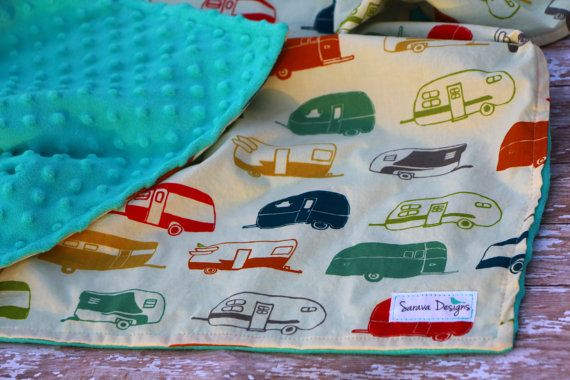 Organic Baby Blanket - Just for Fun Camper in Multicolor by Birch Organic Fabrics - Ready to ship!